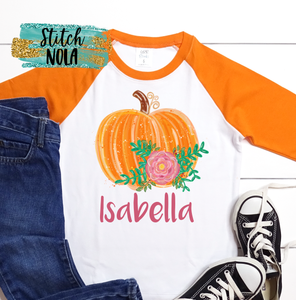 Personalized Floral Pumpkin Printed Shirt