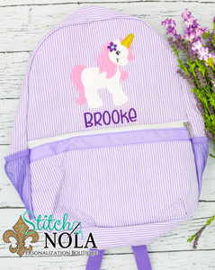 Personalized Seersucker Backpack with Unicorn Applique, Seersucker Diaper Bag, Seersucker School Bag, Seersucker Bag, Diaper Bag, School Bag, Book