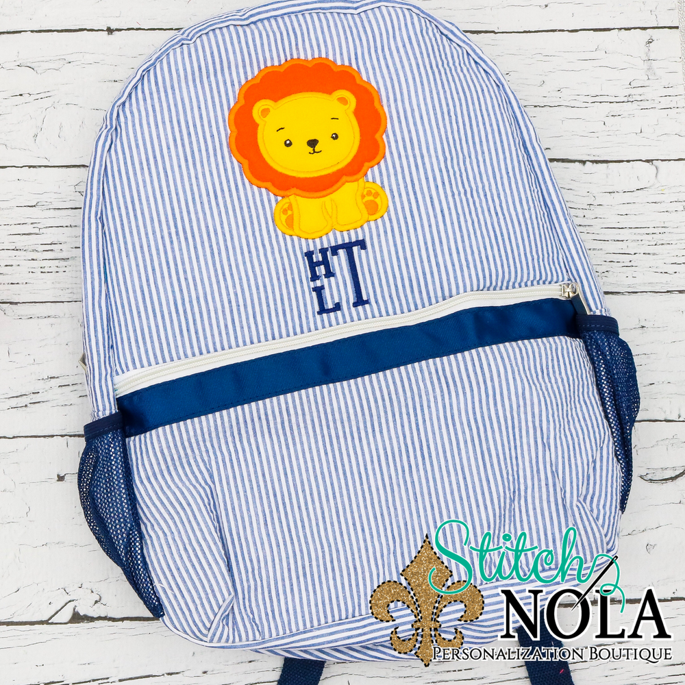 Personalized Seersucker Backpack with Lion Applique, Seersucker Diaper Bag, Seersucker School Bag, Seersucker Bag, Diaper Bag, School Bag, Book