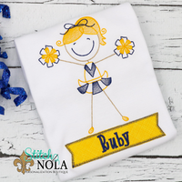 Personalized Cheerleader With Banner Appliqué Shirt