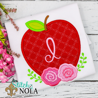 Personalized Back to School Floral Apple Applique Shirt
