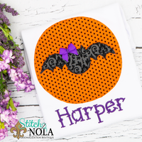 Personalized Halloween Bat on Circle Appliqué Shirt