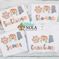 Personalized Orange and Navy Tiger Trio Sketch Shirt