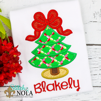 Personalized Christmas Tree with Big Bow Applique Shirt