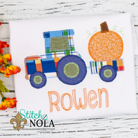 Personalized Pumpkin Tractor Applique Shirt