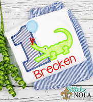 Personalized Birthday Alligator with Balloon Appliqué Shirt