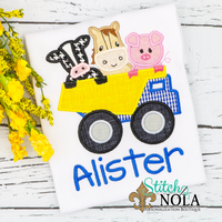 Personalized Dump Truck With Farm Animals Applique Shirt