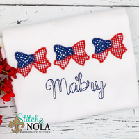 Personalized American Flag Bow Trio Applique Shirt