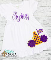 Personalized Cheerleader Megaphone With Pom Poms Appliqué Shirt