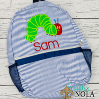 Personalized Seersucker Backpack with Caterpillar Applique, Seersucker Diaper Bag, Seersucker School Bag, Seersucker Bag, Diaper Bag, School Bag, Book