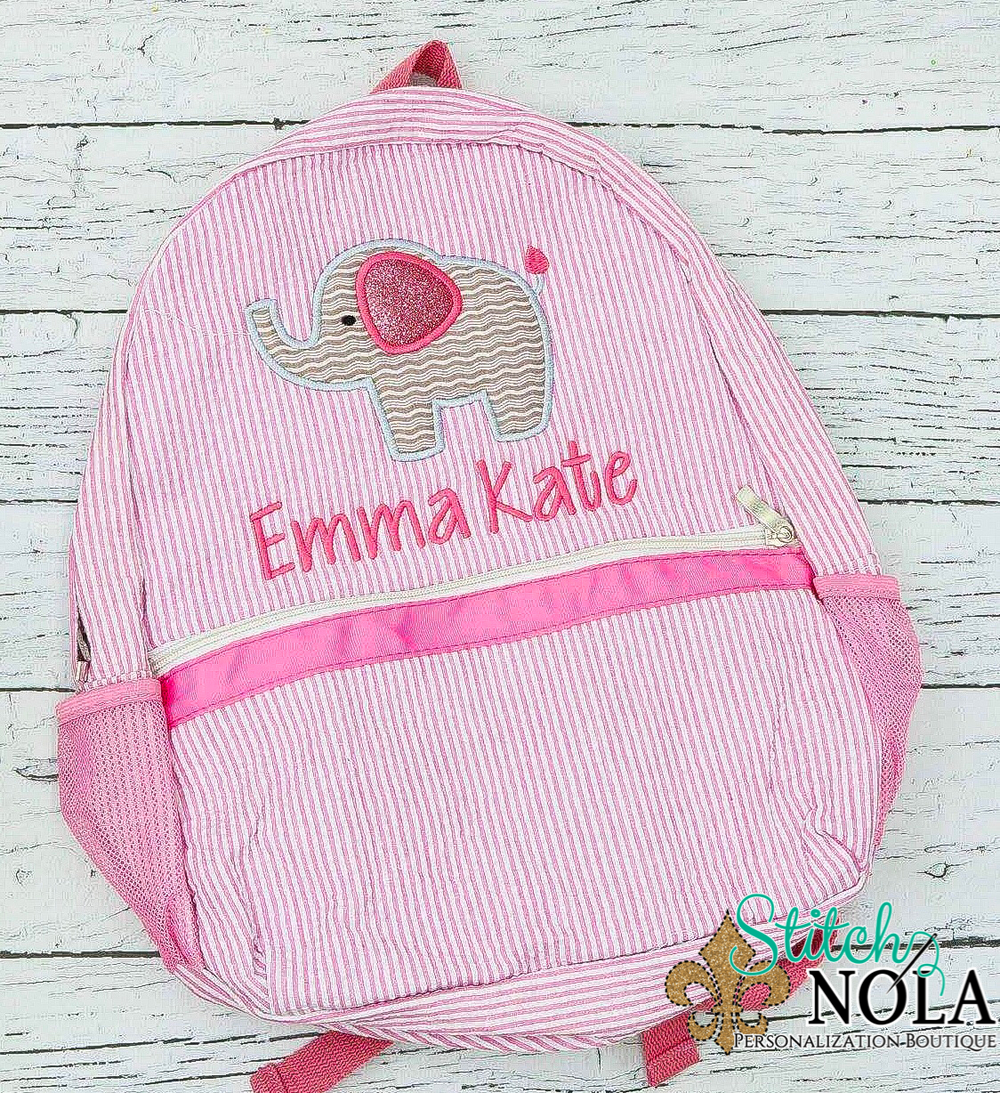 Personalized Seersucker Backpack with Elephant Applique, Seersucker Diaper Bag, Seersucker School Bag, Seersucker Bag, Diaper Bag, School Bag, Book