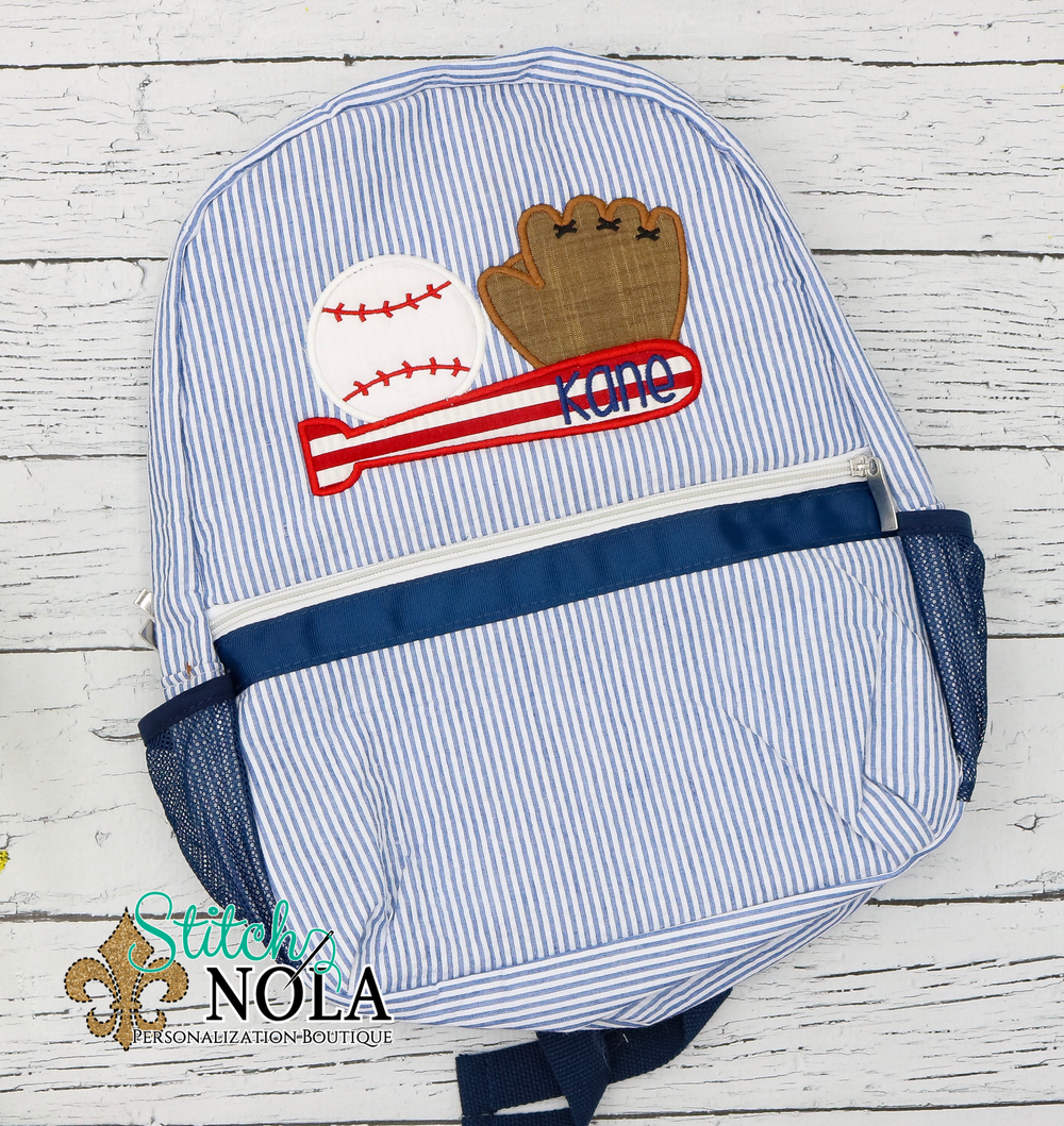 Personalized Seersucker Backpack with Baseball Trio Applique, Seersucker Diaper Bag, Seersucker School Bag, Seersucker Bag, Diaper Bag, School Bag, Book
