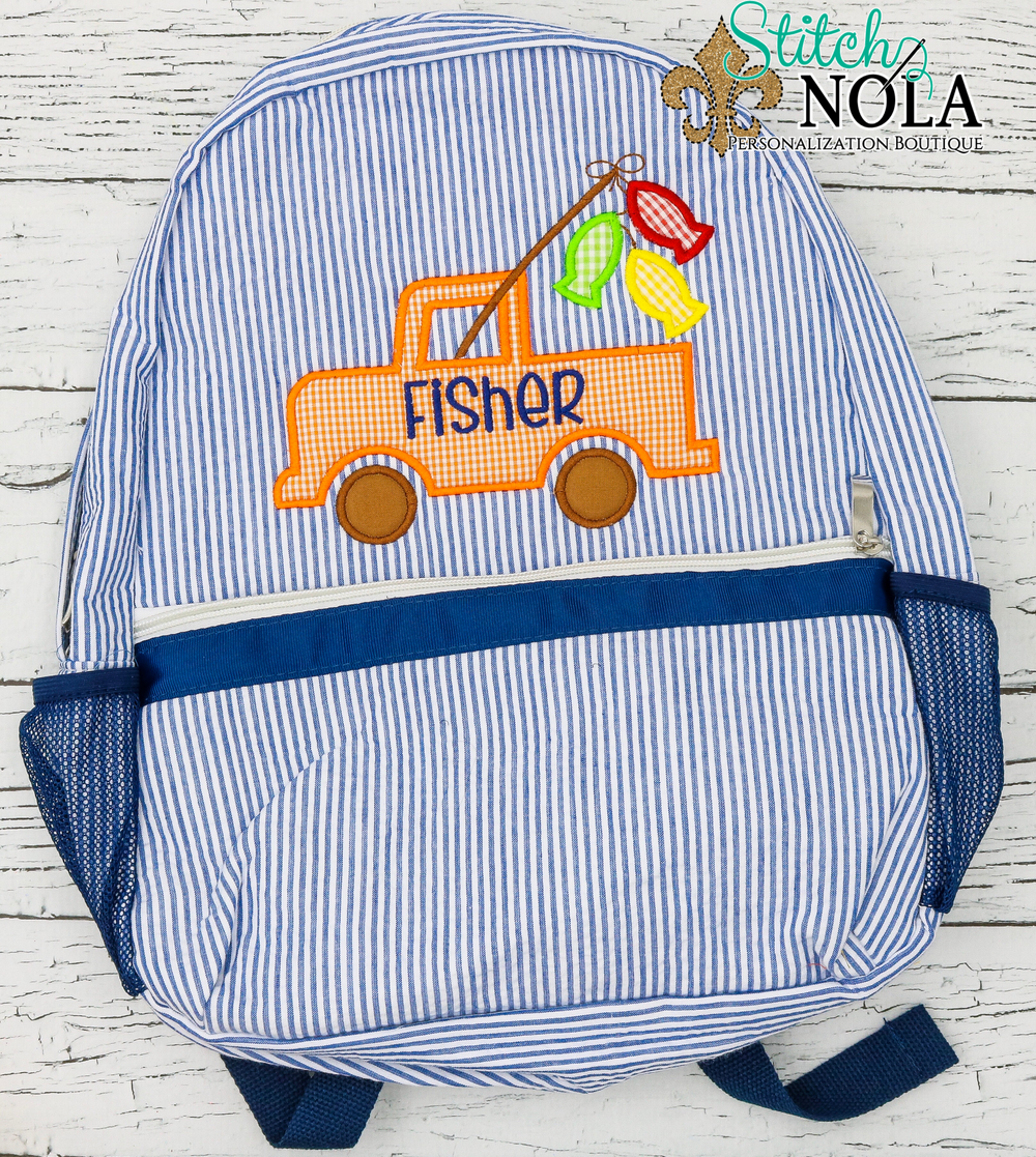 Personalized Seersucker Backpack with Fishing Truck Applique, Seersucker Diaper Bag, Seersucker School Bag, Seersucker Bag, Diaper Bag, School Bag, Book