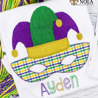 Personalized Mardi Gras Mask with Jester Hat Applique Shirt