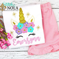 Personalized Unicorn With Stars Applique Shirt