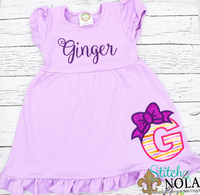 Personalized Alpha With Bow Applique Colored Garment