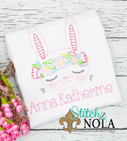 Personalized Vintage Easter Bunny With Flower Crown Sketch Shirt