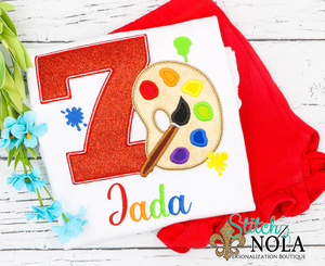 Personalized Birthday Artist/Painter Appliqué Shirt