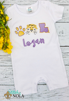 Personalized Purple & Gold Tiger Trio Sketch Shirt