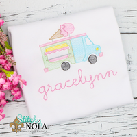 Personalized Ice Cream Truck Sketch Shirt