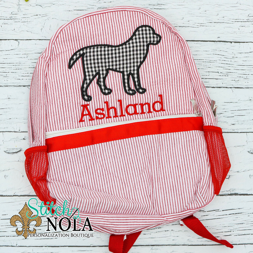 Personalized Seersucker Backpack with Lab Applique, Seersucker Diaper Bag, Seersucker School Bag, Seersucker Bag, Diaper Bag, School Bag, Book