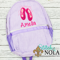 Personalized Seersucker Backpack with Ballet Slippers Applique, Seersucker Diaper Bag, Seersucker School Bag, Seersucker Bag, Diaper Bag, School Bag, Book