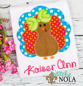 Personalized Turkey With Bow Tie & Bow Applique Shirt