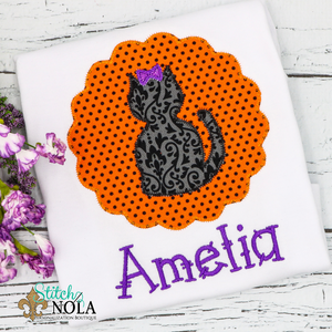 Personalized Halloween Cat on Scallop Circle Appliqué Shirt