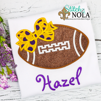 Personalized Football With Bow Applique Shirt