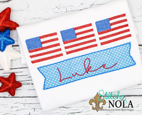 Personalized American Flag Trio With Banner Applique Shirt