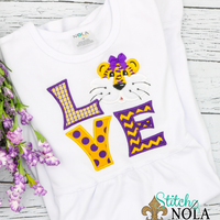 Personalized LSU Tiger Love Applique Shirt