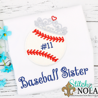 Personalized Baseball Sister Applique Shirt