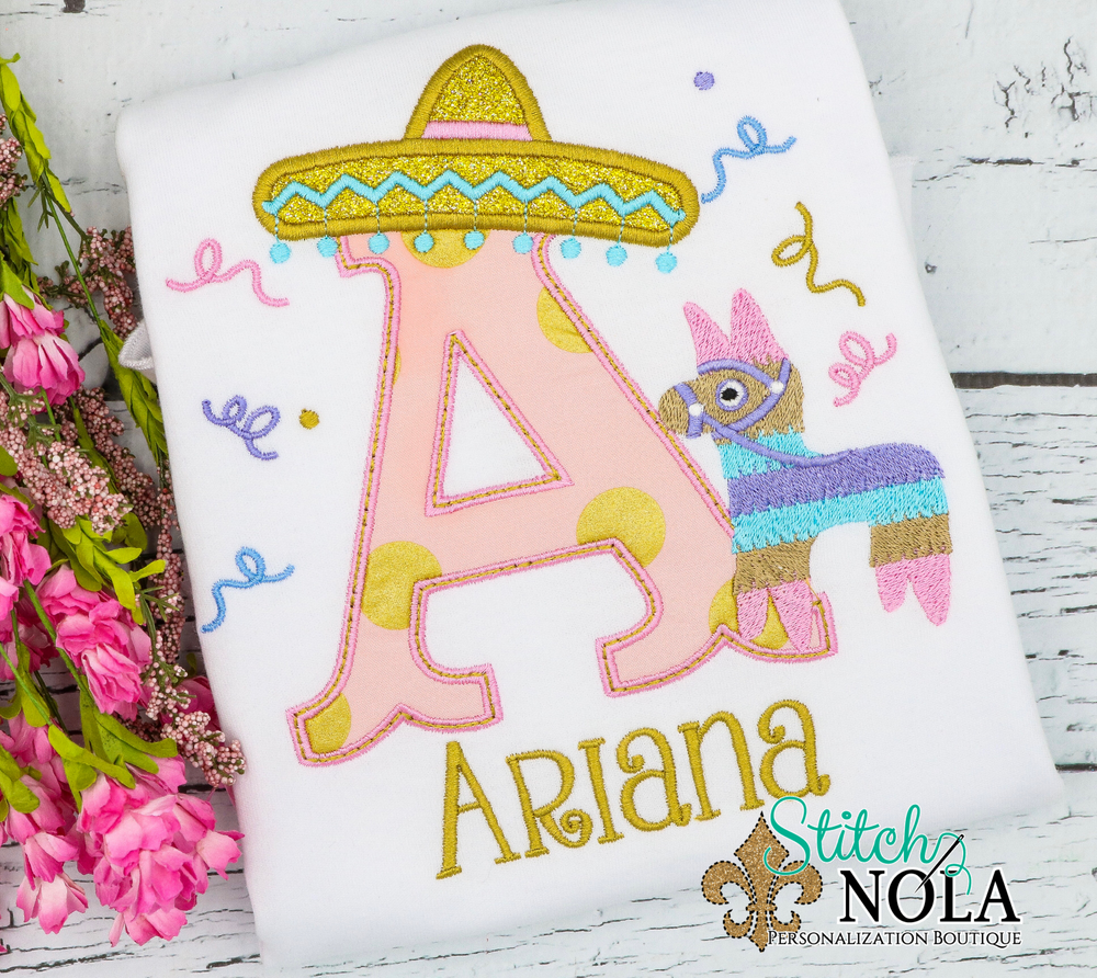 Personalized Mexican Fiesta Alpha Applique Shirt