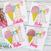Personalized Ice Cream Alpha With Banner Applique Shirt