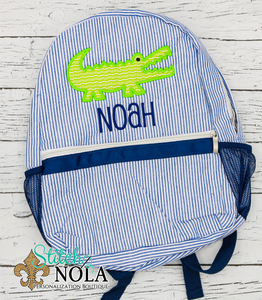 Personalized Seersucker Backpack with Alligator Applique, Seersucker Diaper Bag, Seersucker School Bag, Seersucker Bag, Diaper Bag, School Bag, Book