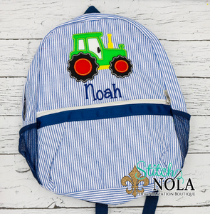 Personalized Seersucker Backpack with Tractor Applique, Seersucker Diaper Bag, Seersucker School Bag, Seersucker Bag, Diaper Bag, School Bag, Book