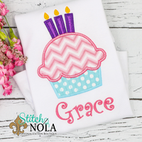Personalized Birthday Cupcake Appliqué Shirt