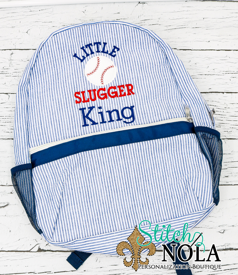 Personalized Seersucker Backpack with Little Slugger Baseball Applique, Seersucker Diaper Bag, Seersucker School Bag, Seersucker Bag, Diaper Bag, School Bag, Book