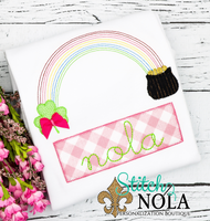 Personalized St. Patrick's Day Rainbow with Pot of Gold Appliqué Shirt