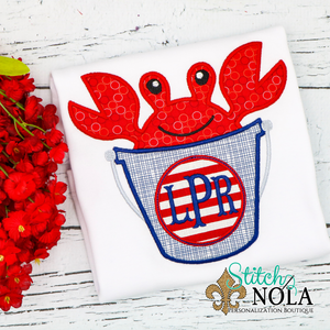 Personalized Crab in Bucket Applique Shirt