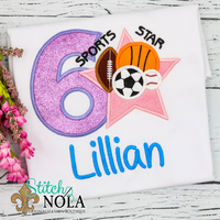 Personalized Birthday Sports Star Appliqué Shirt