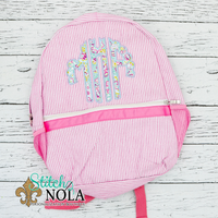Personalized Seersucker Backpack with Scalloped Circle Monogram Applique, Seersucker Diaper Bag, Seersucker School Bag, Seersucker Bag, Diaper Bag, School Bag, Book
