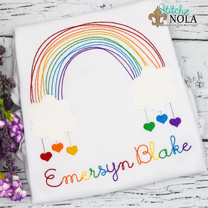 Personalized Rainbow With Hearts Applique Shirt