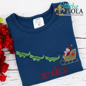 Personalized Christmas Cajun Santa with Alligator Sleigh Sketch Shirt Colored Garment