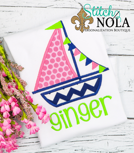 Personalized Sailboat Applique Shirt
