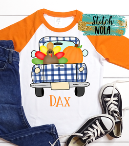 Personalized Turkey in a Truck Printed Shirt