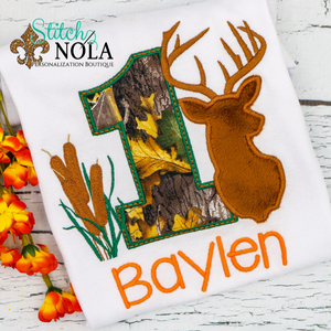 Personalized Camo Birthday Deer Appliqué Shirt