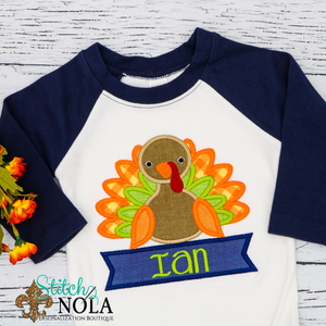 Personalized Baby Turkey Applique Shirt