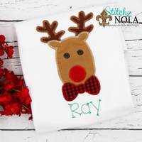 Personalized Christmas Reindeer with Bow Tie Applique Shirt