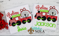 Personalized Christmas Believe Train with Bell Applique Shirt